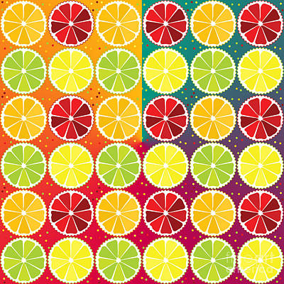 Food And Beverage Royalty-Free and Rights-Managed Images - Assorted citrus pattern by Gaspar Avila