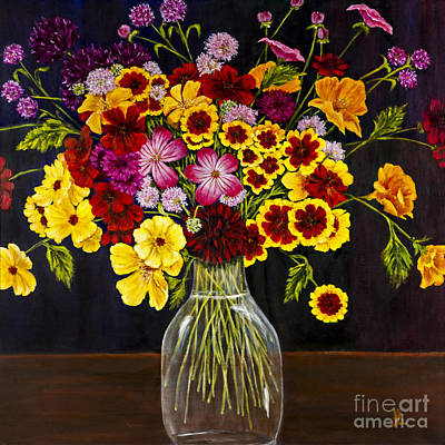 Assorted Flowers In A Glass Vase By Alison Tave Art Print by Sheldon Kralstein