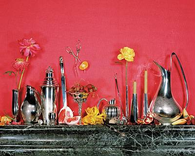 Marble Flower Vases Photograph - Assorted Silverware On A Mantelpiece by James Wojcik