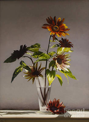 Floral Still Life Painting - Assorted Sunflowers by Larry Preston