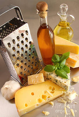 Photograph - Assortment Of Cheeses And Olive Oil On Table by Sandra Cunningham