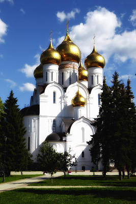 Cathedral Of Christ The Savior Photograph - Assumption Cathedral Yaroslavl Russia by Linda Dunn