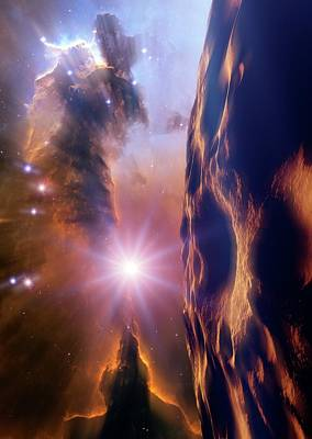 Asteroid And Eagle Nebula Art Print by Nasa, Esa, And The Hubble Heritage Team Stsci/aura)/detlev Van Ravenswaay