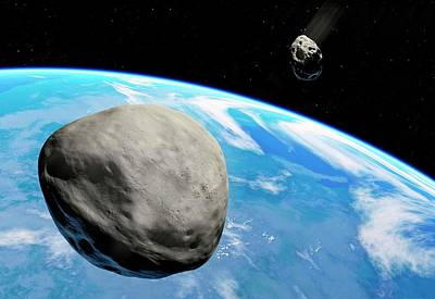 Asteroid Photograph - Asteroids Approaching Earth by Detlev Van Ravenswaay