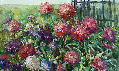Painting - Asters In September by Juliya Zhukova