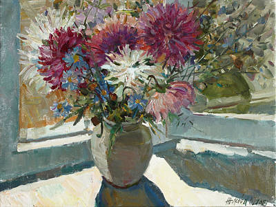 Painting - Asters On The Window by Juliya Zhukova