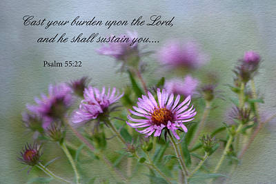 Photograph - Asters With Scripture by Ann Bridges