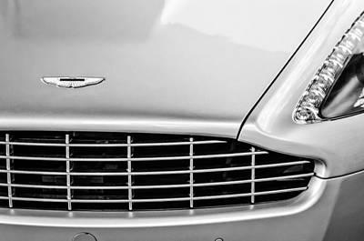 Photograph - Aston Martin Grille Emblem -0740bw by Jill Reger