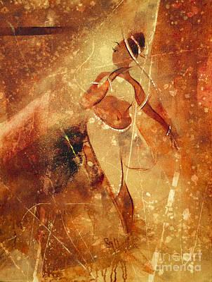 Golden Mixed Media - Astonished By Beauty by Raj Maji
