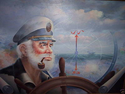 Korean Painting - Astounding Sea Captain Original Or Map Captain 1987 by Yoo Choong Yeul