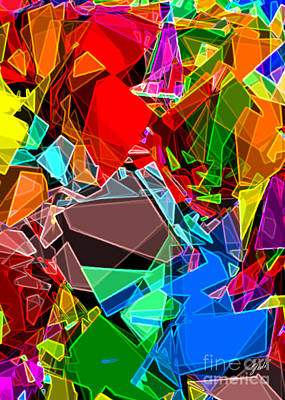 Art Print featuring the digital art Astratto - Abstract 52 by Ze  Di