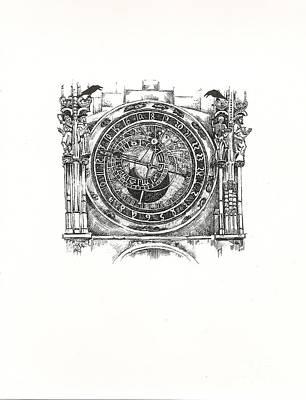 Astronomical Art Drawing - Astrological Clock  by Margaryta Yermolayeva