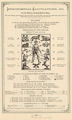 Astrology And The Human Body Art Print by Mid-manhattan Picture Collection/new York Public Library