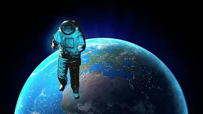 Spacewalk Photograph - Astronaut And Planet Earth by Andrzej Wojcicki