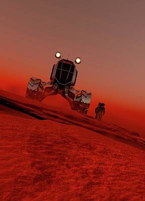 Astronaut And Vehicle On Mars Art Print by Victor Habbick Visions