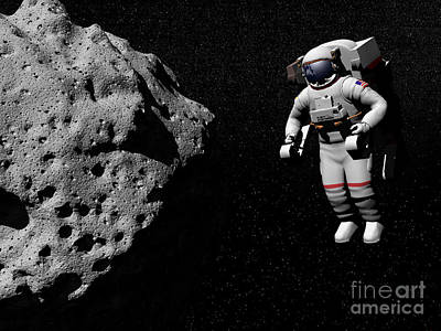 Planetoid Digital Art - Astronaut Exploring An Asteroid by Elena Duvernay