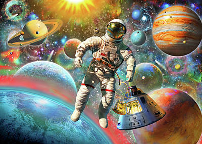 Shit Wall Art - Painting - Astronaut Floating In Space by Adrian Chesterman