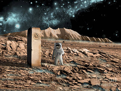 Astronaut On An Alien World Discovers Art Print by Marc Ward