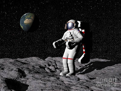 Astronaut On Moon With Earth Art Print by Elena Duvernay