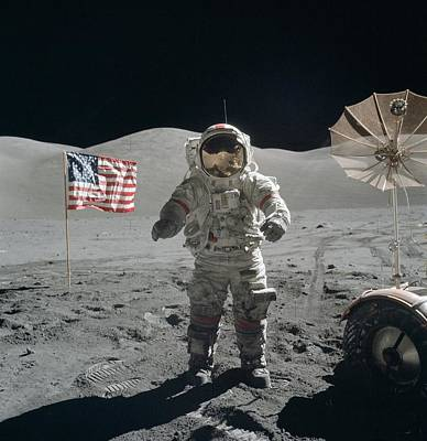Photograph - Astronaut On The Lunar Surface by Celestial Images