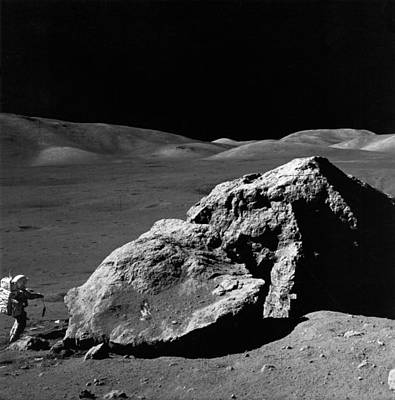 Space Exploration Photograph - Astronaut On The Moon by Underwood Archives