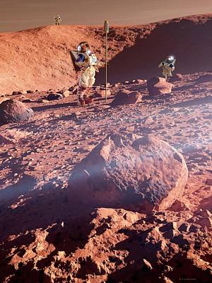 Spacesuit Photograph - Astronauts On Mars by Detlev Van Ravenswaay