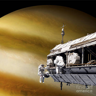 Jovian Digital Art - Astronauts Performing Work On A Space by Marc Ward