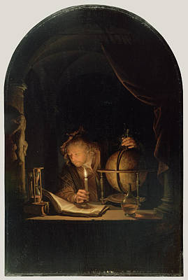 Astronomers Painting - Astronomer By Candlelight Gerrit Dou, Dutch by Litz Collection