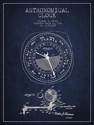 Astronomical Clock Digital Art - Astronomical Clock Patent From 1930 by Aged Pixel