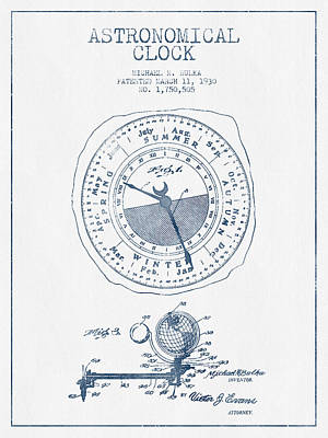 Alarm Clock Drawing - Astronomical Clock Patent From 1930  - Blue Ink by Aged Pixel
