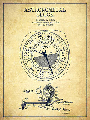 Alarm Clock Drawing - Astronomical Clock Patent From 1930 - Vintage by Aged Pixel