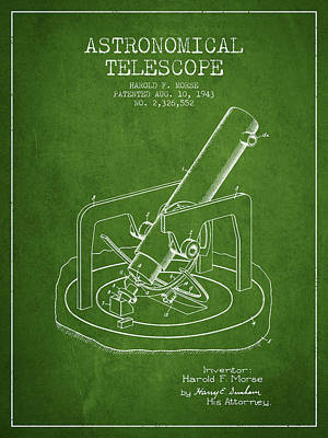 Astronomical Digital Art - Astronomical Telescope Patent From 1943 - Green by Aged Pixel