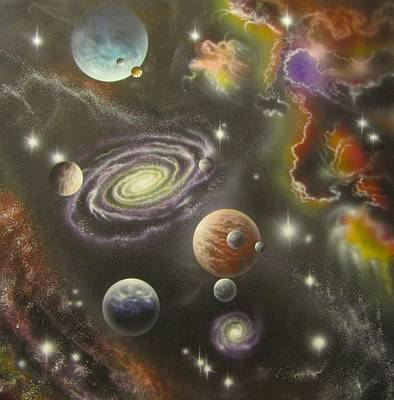 Painting - Astronomy Themed Display Table-2 by Sam Del Russi