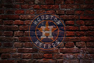 Cabin Wall Photograph - Astros Baseball Graffiti On Brick  by Movie Poster Prints