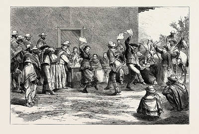Rodeo Art Drawing - At A Chilian Rodeo Dancing The Cueca by Chilean School
