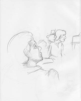 Judaica Drawing - At A Lecture by Phil Welsher