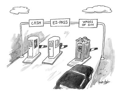 February 16th Drawing - At A Toll, A Black Car Goes Through A Booth by Ken Krimstein