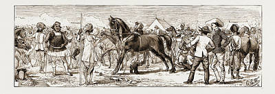 Indian Horse Drawing - At An Indian Horse Fair A Sketch At Muttra by Litz Collection