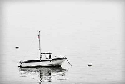 Maine Coast Photograph - At Anchor Bar Harbor Maine Black And White by Carol Leigh