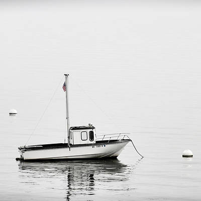 At Anchor Bar Harbor Maine Black And White Square Art Print by Carol Leigh