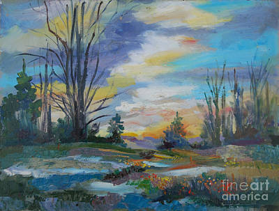 Ladnscape Painting - At Dusk by John  Reilly