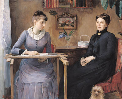 At Home Or Intimacy, 1885 Oil On Canvas Art Print by Marie Louise Catherine Breslau