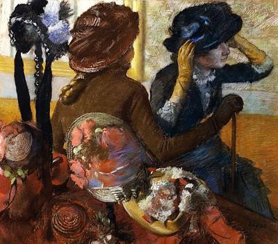 Milliner Painting - At Milliner's by Edgar Degas