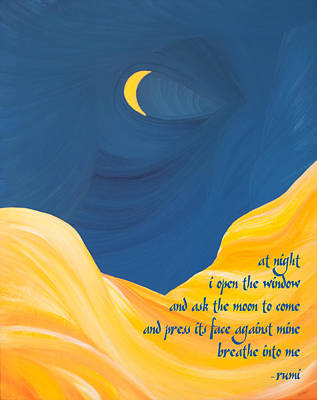 Painting - At Night With Rumi And The Moon by Ginny Gaura