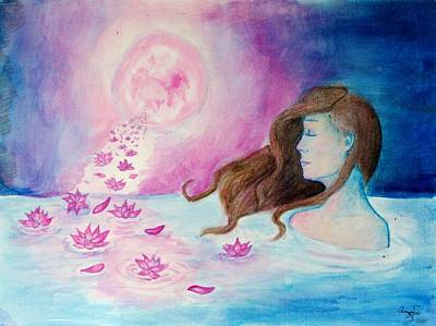 Lotus Full Bloom Painting - At Peace by Amelia Zaborac