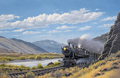 Yellowstone Painting - At Point Of Rocks- Bound For Livingston  by Paul Krapf