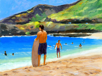 Oahu Painting - At Sandy Beach by Douglas Simonson