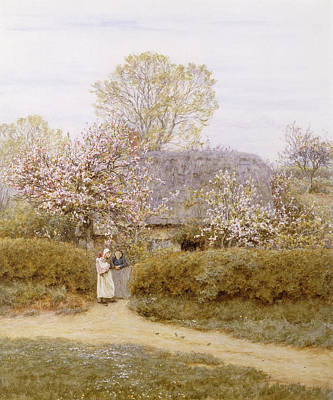 Colored Woman Painting - At School Green Isle Of Wight by Helen Allingham