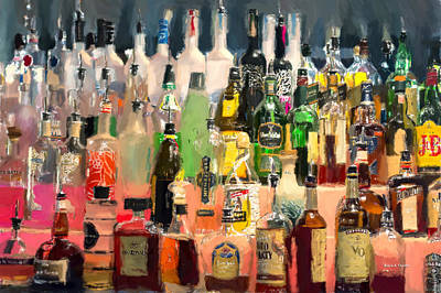Night Out Painting - At The Bar by Angela A Stanton
