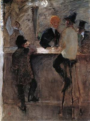 At The Bar Art Print by Toulouse-Lautrec